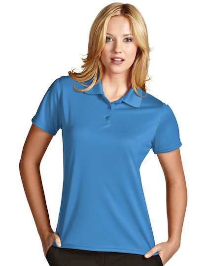 Antigua women 39 s exceed polo shirt custom logo company for Women s company logo shirts