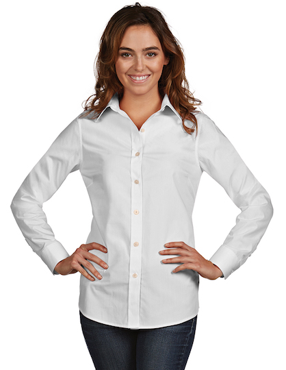 Antigua women 39 s dynasty shirt custom logo company for Women s company logo shirts